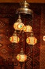 Turkish Flame Five Lamp Mosaic Chandelier