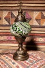 (TM12-G) Small Green Turkish Mosaic Electric Glass Table Lamp