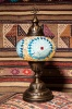 (TM14-TS) Large Turquoise Sun Turkish Mosaic Electric Glass Table Lamp
