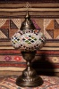 (TM14-YRK) Large Yellow Red Kilim Turkish Mosaic Electric Glass Table Lamp