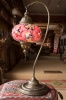 (TM17RM) Red Mix Swan Neck Turkish Mosaic Electric Glass Lamp