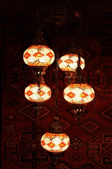 Turkish Red Orange White Five Lamp Mosaic Chandelier