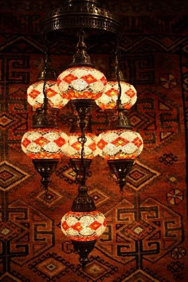 Turkish Red Orange White Seven Lamp Mosaic Chandelier