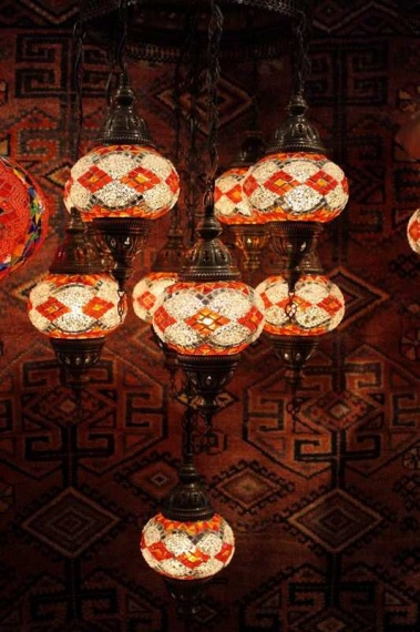 Turkish Red Orange White Nine Lamp Mosaic Chandelier