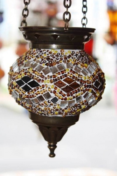 (HM10AK) Amber Turkish Mosaic Glass Lamp