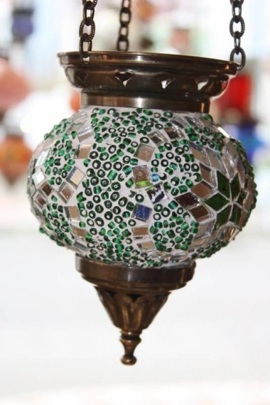 (HM10GSS) Green Turkish Mosaic Glass Lamp