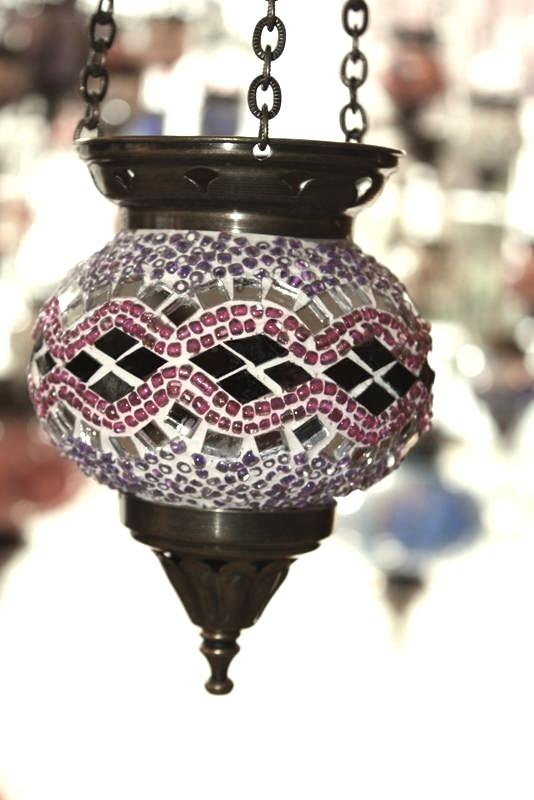 (HM10LK) Lilac Turkish Mosaic Glass Lamp