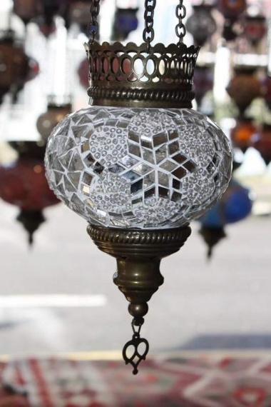 (HM12WSS) White Turkish Mosaic Glass Lamp