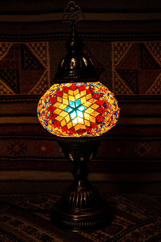 (TM12-F) Small Flame Turkish Mosaic Electric Glass Table Lamp