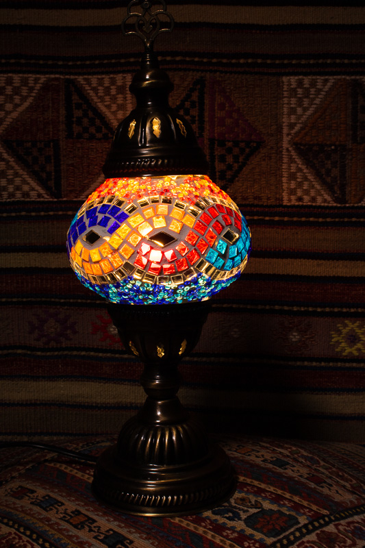 (TM12-MW) Small Mixed Wave Turkish Mosaic Electric Glass Table Lamp