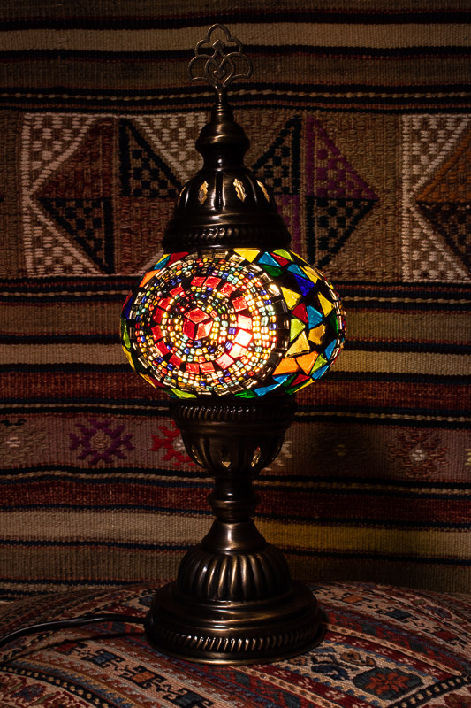 (TM12-T) Small Tiffany Turkish Mosaic Electric Glass Table Lamp