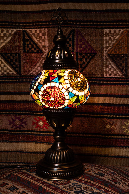 (TM12-TP) Small Tiffany Pearl Turkish Mosaic Electric Glass Table Lamp