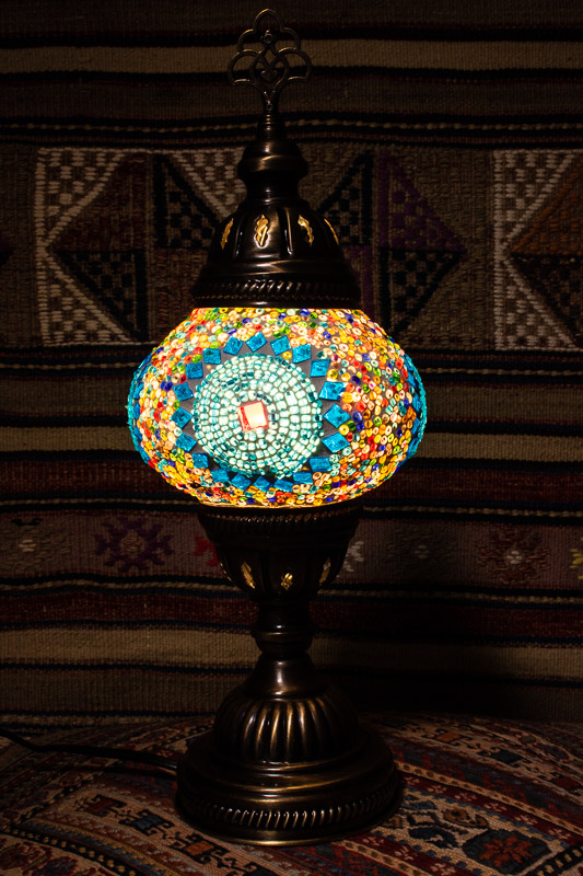 (TM12-TS) Small Turquoise Sun Turkish Mosaic Electric Glass Table Lamp