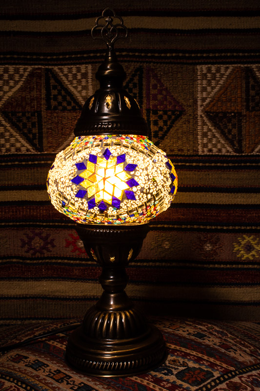 (TM12-YBS)  Small Yellow Blue Star Turkish Mosaic Electric Glass Table Lamp