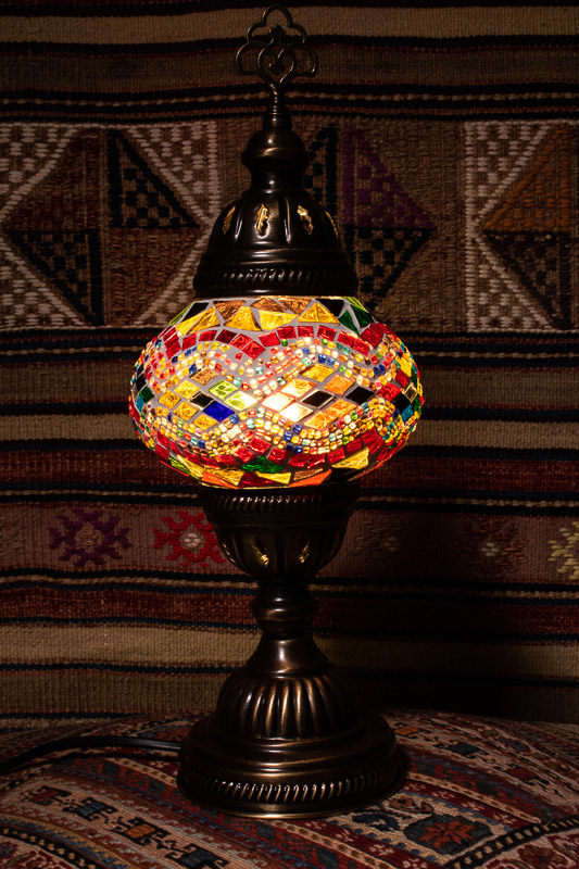 (TM12-YRK) Small Yellow Red Kilim Turkish Mosaic Electric Glass Table Lamp