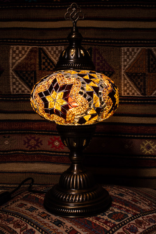 (TM14-AS) Large Amber Star Turkish Mosaic Electric Glass Table Lamp