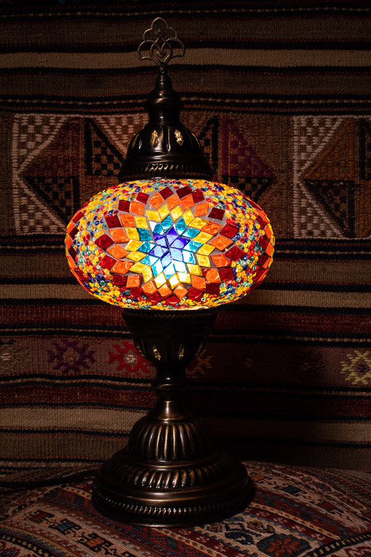(TM14-F) Large Flame Turkish Mosaic Electric Glass Table Lamp