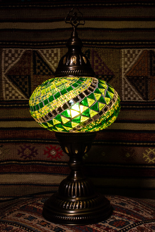 (TM14-G) Large Green Turkish Mosaic Electric Glass Table Lamp