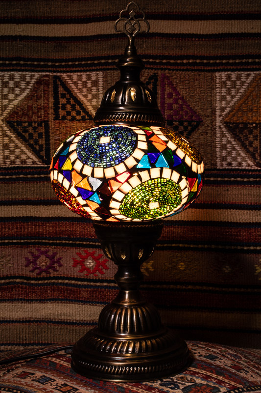 (TM14-TP) Large Tiffany Pearl Turkish Mosaic Electric Glass Table Lamp