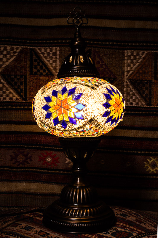 (TM14-YBS) Large Yellow Blue Star Turkish Mosaic Electric Glass Table Lamp