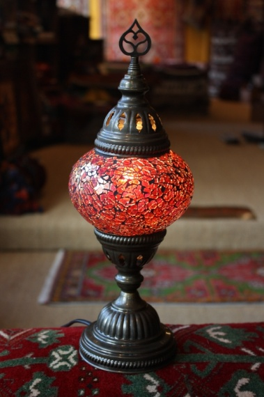 (24CZM-RED) Red Turkish Mosaic Table Lamp