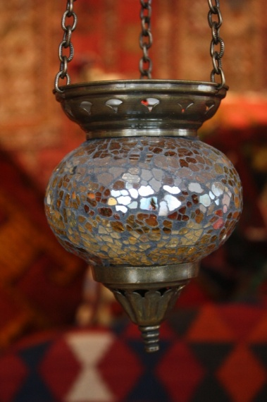 (58CZAMBER) Amber Shiny Turkish Mosaic Oriental Glass Lamp