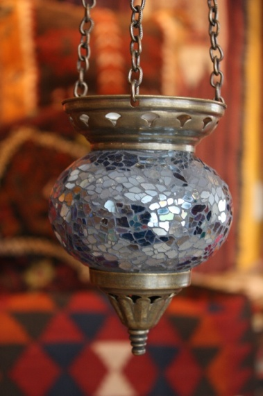 (58CZBLUE) Blue Shiny Turkish Mosaic Oriental Glass Lamp