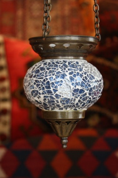 (58CZPALEBLUE) Pale Blue Shiny Turkish Mosaic Oriental Glass Lamp