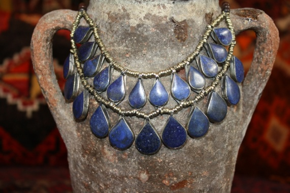 (AN506) Tribal Afghan Semi-Precious Lapis Necklace