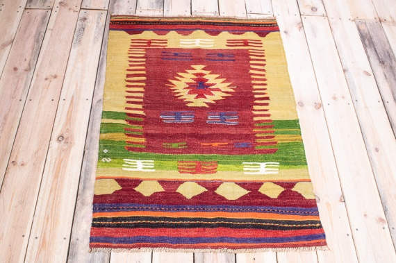 10011 Turkish Small Vintage Dazkiri Kilim Rug 78x118cm (2.6½ x 3.10½ft)