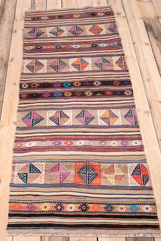 10220 Vintage Turkish Cannakale Kilim Runner Rug 73x211cm (2.4½ x 6.11ft)
