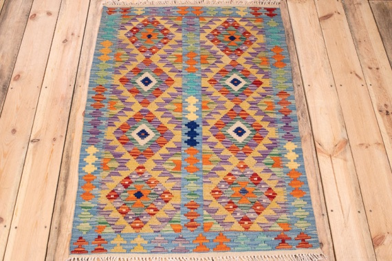10311 Afghan Kilim Rug - Vegetable Dyed 82x122cm (2.8 x 4ft)
