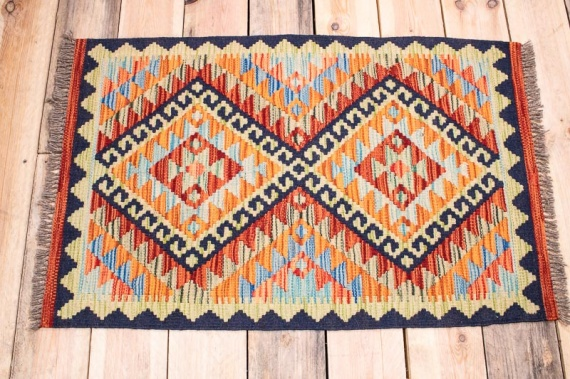 10327 Small Vegetable Dyed Afghan Kilim Rug 57x88cm (1.10½ x 2.10½ft)