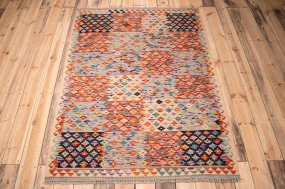 10348 Afghan Vegetable Dyed Kilim Rug 136x185cm (4.5½ x 6ft)