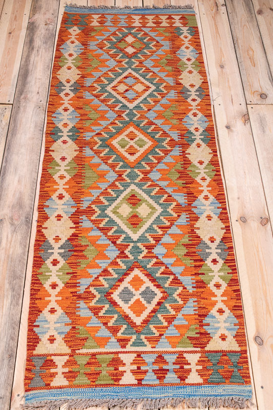 10369 Afghan Vegetable Dyed Kilim Runner Rug 64x189cm (2.1 x 6.2½ft)