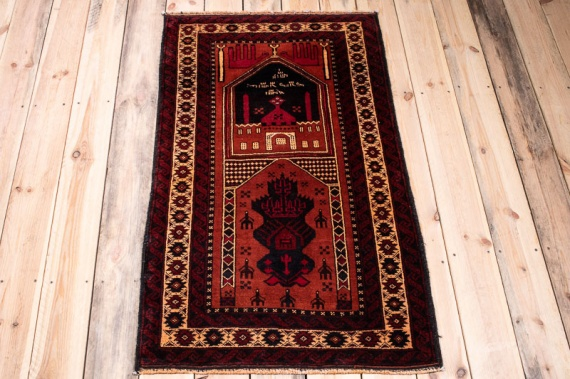10377 Fine Afghan Baluch Prayer Rug 73x125cm (2.4½ x 4.1ft)