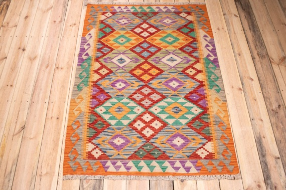 10385 Afghan Vegetable Dyed Kilim Rug 103x144cm (3.4½ x 4.8½ft)
