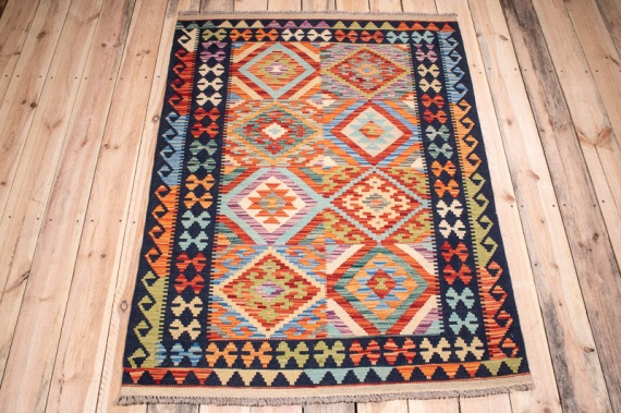10387 Afghan Vegetable Dyed Kilim Rug 107x143cm (3.6 x 4.8ft)
