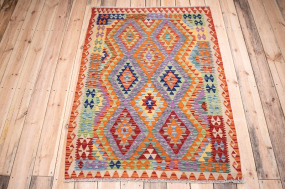 10389 Afghan Vegetable Dyed Kilim Rug 106x150cm (3.5½ x 4.11ft)