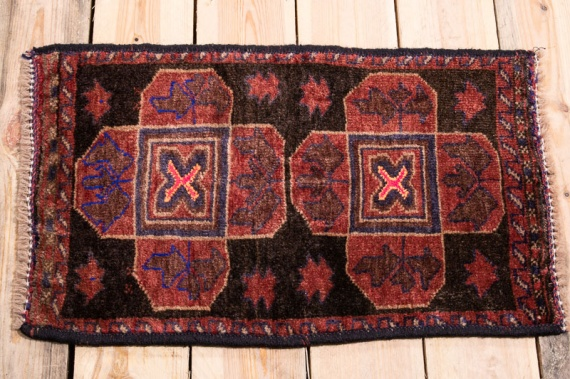 10492 Small Afghan Baluch Tribal Rug 39x64cm (1.3 x 2.1ft)