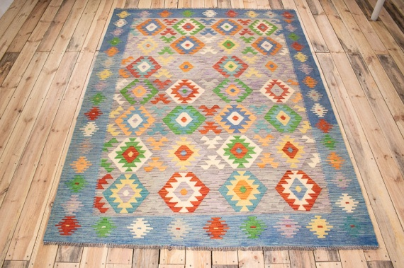 10509 Afghan Vegetable Dyed Kilim Rug 177x238cm (5.9½ x 7.9½ft)