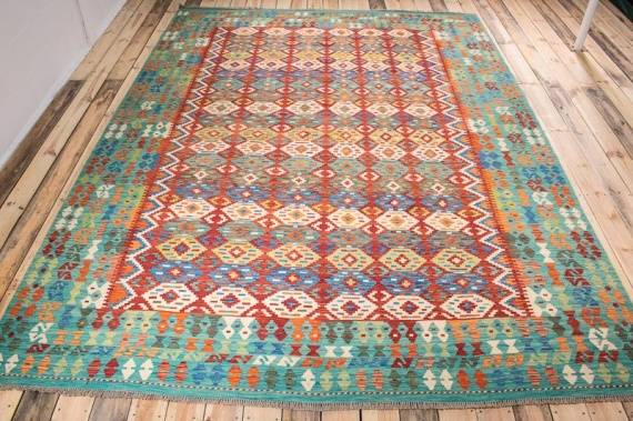 10512 Afghan Vegetable Dyed Kilim Rug 255x346cm (8.4½ x 11.4ft)