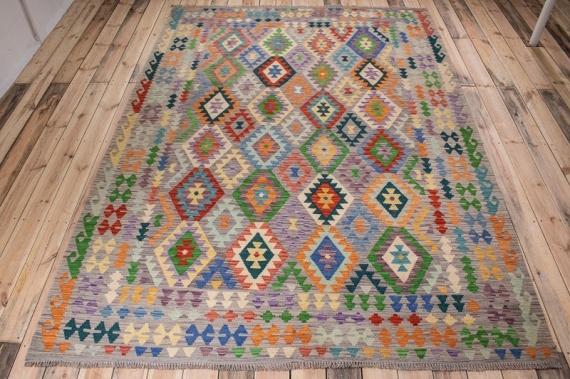 10513 Afghan Vegetable Dyed Kilim Rug 206x295cm (6.9 x 9.8ft)