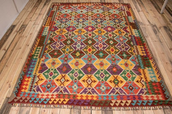 10516 Afghan Vegetable Dyed Kilim Rug 222x297cm (7.3½ x 9.9ft)
