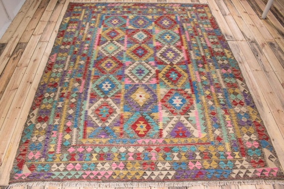10517 Afghan Vegetable Dyed Kilim Rug 216x277cm (7.1 x 9.1ft)