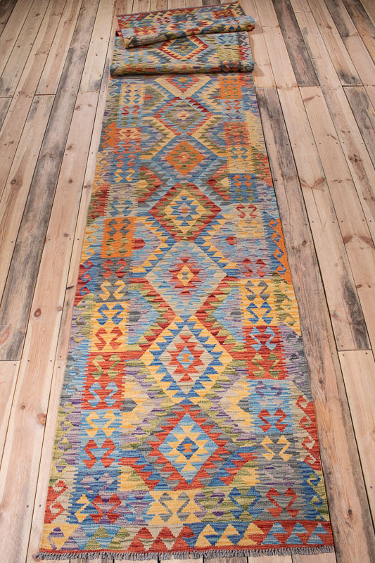 10526 Afghan Vegetable Kilim Runner Rug 90x504cm (2.11½ x 16.6½ft)