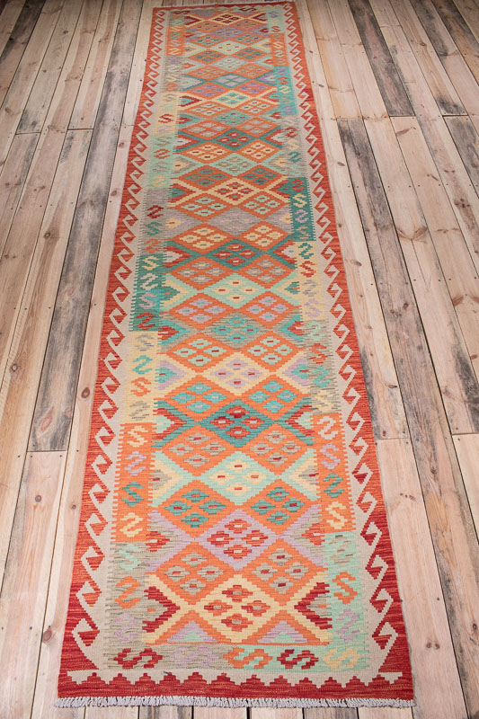 10527 Afghan Vegetable Kilim Runner Rug 89x390cm (2.11 x 12.9½ft)