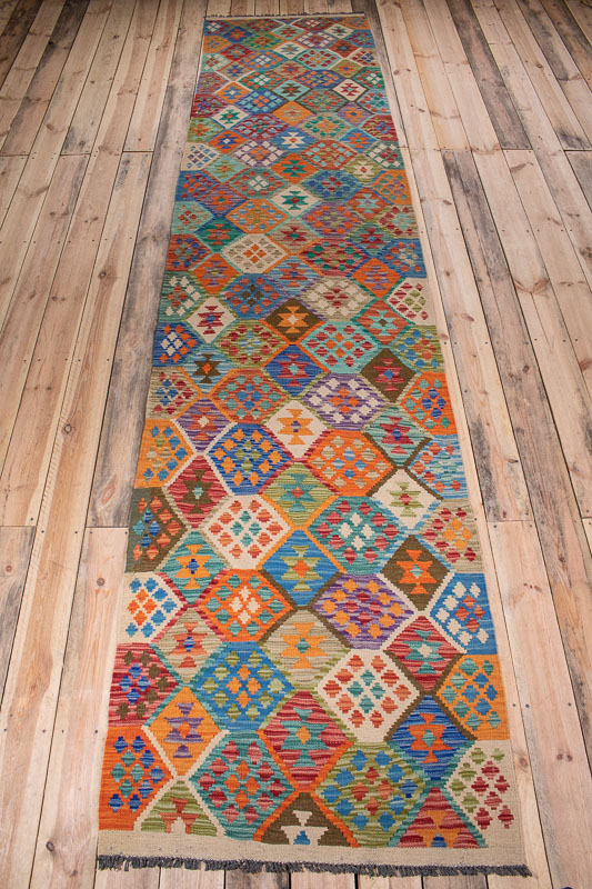 10529 Afghan Vegetable Kilim Runner Rug 90x393cm (2.11½ x 12.10½ft)
