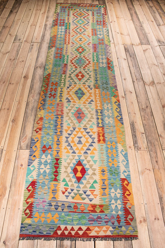 10530 Afghan Vegetable Kilim Runner Rug 89x394cm (2.11 x 12.11ft)