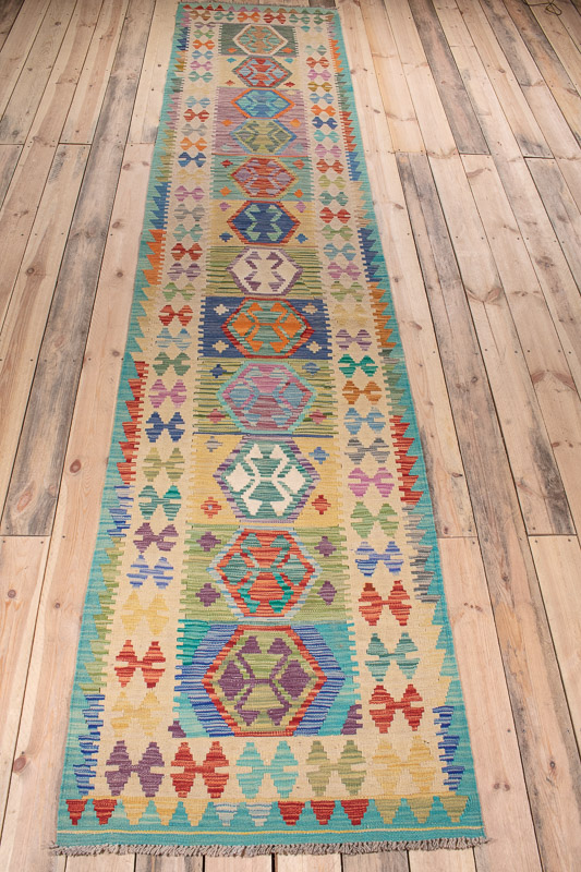 10531 Afghan Vegetable Kilim Runner Rug 84x390cm (2.9 x 12.9½ft)